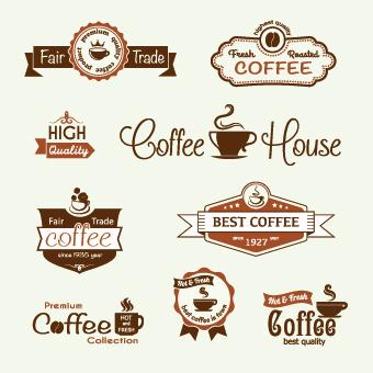 レトロ コーヒー テンプレート と コーヒー ラベル ベクター 03 無料