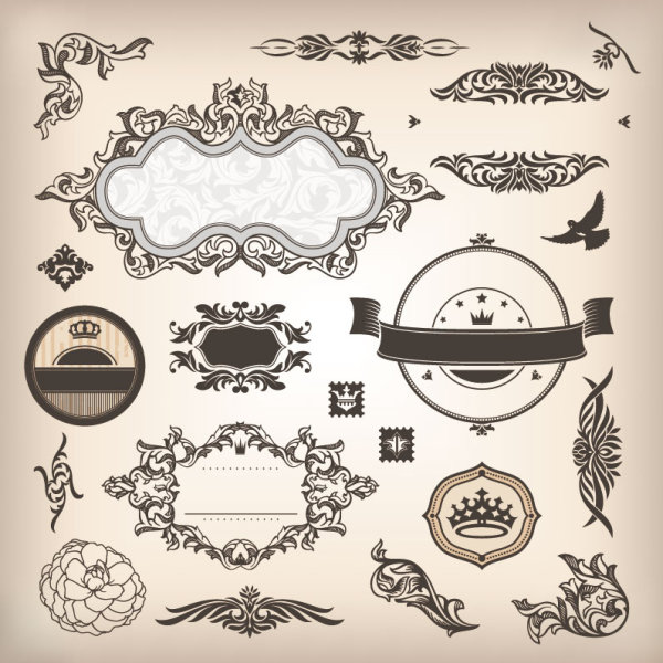 vintage elements borders and labels vector 04 free vector