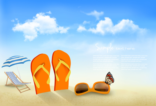 summer beach vacation background art vector 04 free vector