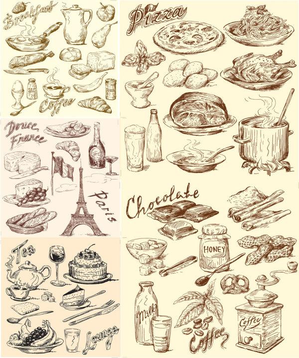 векторные скетчис колбасой черно-белые